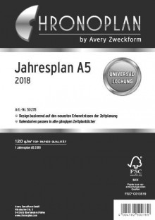 Chronoplan Jahresplan A5 2018 Leporello-Falzung