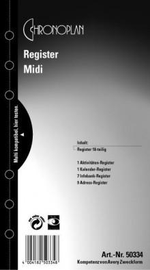 Chronoplan Midi, Register, 18-teilig