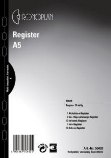 Chronoplan A5, Register 31-teilig, umfasst: Vor-,Tagesplanung, 12-tlg.,