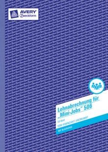 Lohnabrechnung für Mini-Jobs, A4, 50 Blatt mit Blaupapier.