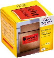 """Avery Warnetiketten """"Vorsicht zerbrechlich!"""" neonrot, 100 x 50 mm"""