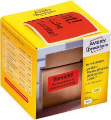 """Avery Warnetiketten """"Vorsicht elektronische Geräte"""", neonrot, 100 x 50 mm"""