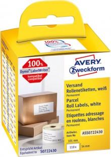 Rollenetikett 101 x 54 mm permanent haftend, weiß, 110 Stück pro Rolle