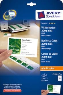 Visitenkarten 200g, Quick u .Clean, 85x54 mm, unbeschichtet, weiß