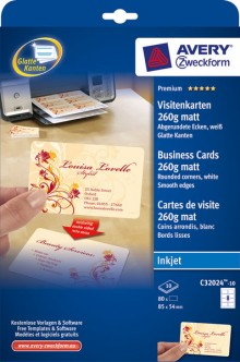 Visitenkarten 260g, Quick u. Clean, 85x54mm, spezialbeschichtet weiß matt