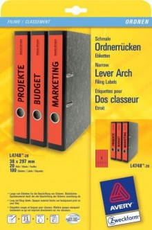 Rückenschild I+L+K lang/schmal, rot, A4, 38 x 297 mm, 20Bl=100St