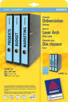 Rückenschild I+L+K lang/schmal, blau, A4, 38 x 297 mm, 20Bl=100St