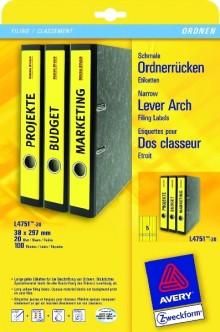 Rückenschild I+L+K lang/schmal, gelb, A4, 38 x 297 mm, 20Bl=100St