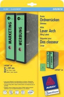 Rückenschild I+L+K lang/breit, grün, A4, 61 x 297 mm, 20Bl=60St