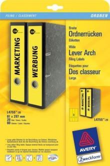 Rückenschild I+L+K lang/breit, gelb, A4, 61 x 297 mm, 20Bl=60St