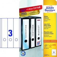 Rückenschild I+L+K lang/breit, weiß, A4, 61x297 mm, 25 Blatt +