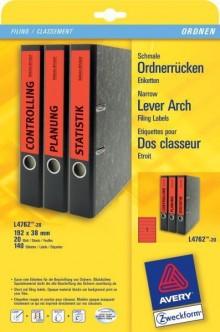 Rückenschild I+L+K kurz/schmal, rot, A4, 192x38 mm, 20Bl=140St