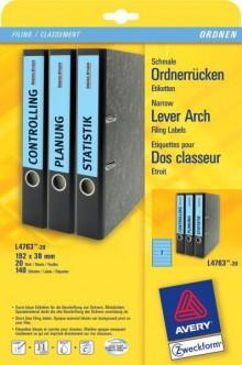 Rückenschild I+L+K kurz/schmal, blau, A4, 38x192 mm, 20Bl=140St