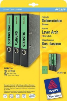 Rückenschild I+L+K kurz/schmal, grün, A4, 38x192 mm, 20Bl=140St