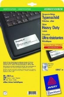 Typenschild Etiketten 96x50,8mm