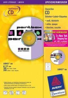 Inkjet CD-Etiketten 117mm, weiß, 200x100 Blatt