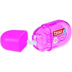 tesa Korrekturroller ecoLogo mini, pink, mit Schutzkappe