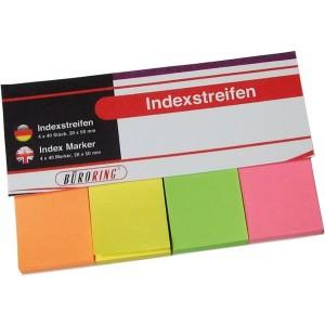 Büroring Index Haftstreifen aus Papier 4 x 40 Streifen 20x50mm Farben: grün,