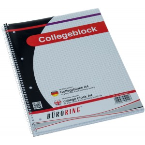 Büroring Collegeblock A4/80 Blatt kariert, holzfrei, weiß, 70g/qm