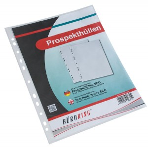 Prospekthülle A4 Eco, PP-Folie genarbt, ca. 50my, Eurolochung.