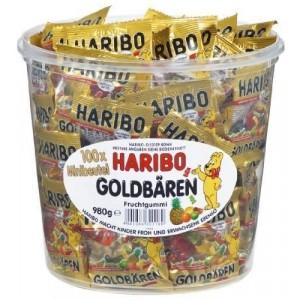 HARIBO Goldbären Minibeutel, Klarsichtdose mit 100x 9,8g