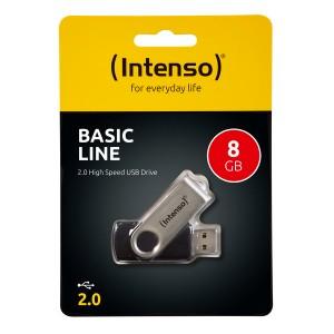 Speicherstick Basic Line USB 2.0 schwarz-silber, Kapazität 8GB