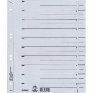 Trennblätter Karton A4 grau Lochung hinterklebt, Linienaufdruck