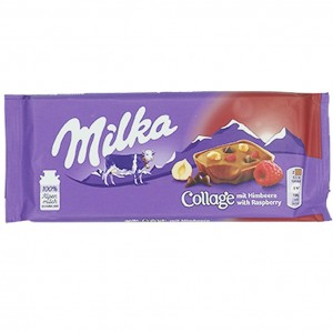 Milka Collage mit Himbeere
