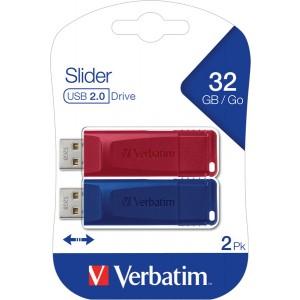 Speicherstick USB 2.0, 32 GB, StorenGo Slider, Multipack