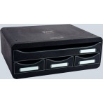 Toolbox 3 Schübe schmal und hoch, 1 Schub für A4 Format, schwarz,