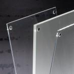 LED-Tischaufsteller glasklar/schwarz A4, gerade, batteriebetrieben,