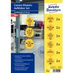 Corona Hinweis-Aufkleber Set Ø 20 cm wetterfeste Folie, Innen-/Außenbereich